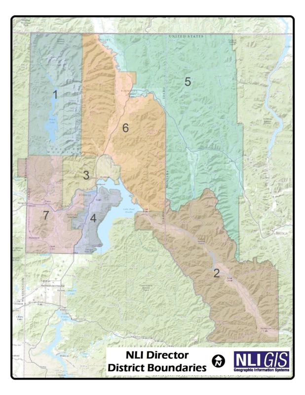 A map depicting seven districts across Montana, Idaho, and Washington state