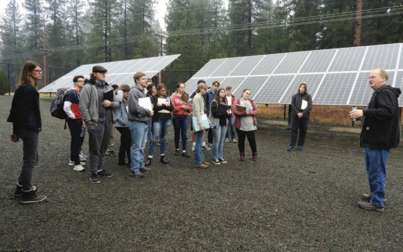 Group of students at the solar plant