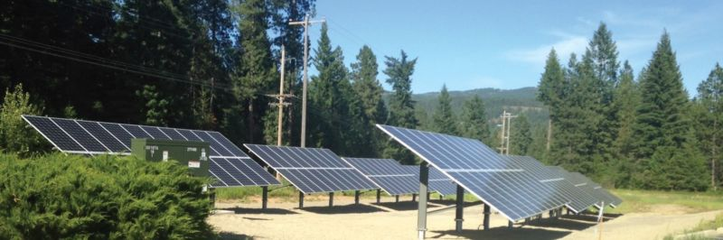 Photo of solar panel installation in forested area