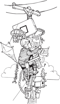 Cartoon illustration of a lineworker climbing a pole covered in posters, a basketball hoop, a birdhouse, and more