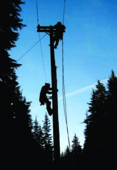 Lineman climbing a pole, black outlines with a blue sky background