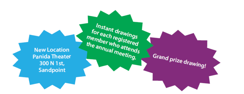 New Location Panida Theater 300 N 1st, Sandpoint -- Instant drawings for each registered member who attends the annual meeting -- Grand prize drawing!