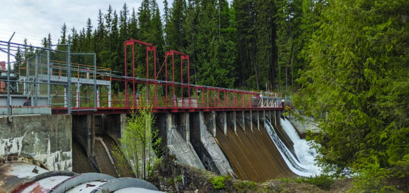 Hydroelectric dam in a forest