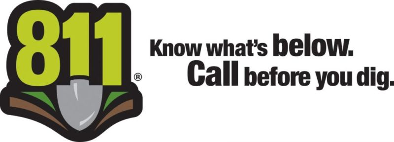 811 logo with a shovel digging into the ground. Text: Know what's below. Call before you dig.