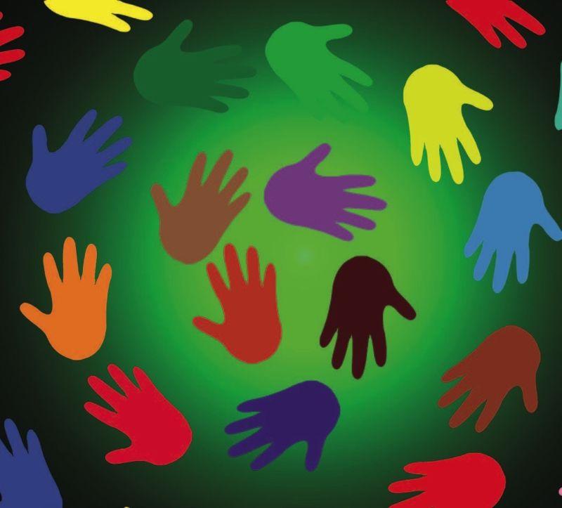 illustrated circle of rainbow handprints