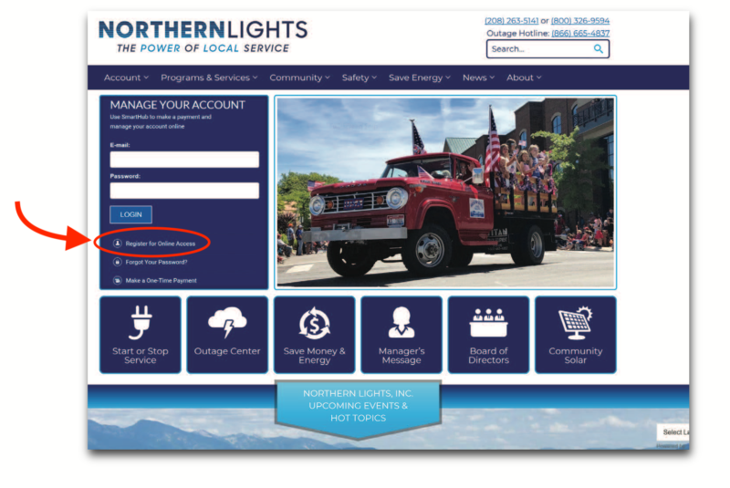 Screenshot of NLI website with new SmartHub login box
